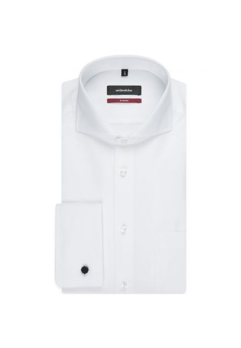 Chemise MODERN blanche poignets mousquetaires col italien