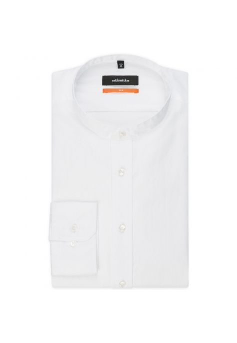 Chemise slim blanche col mao