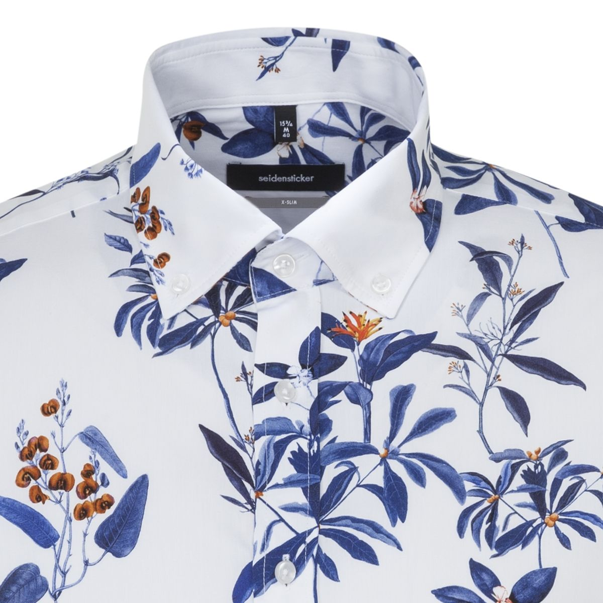 Chemise extra-slim capsule LEGGIUNO motif jungle bleu orange