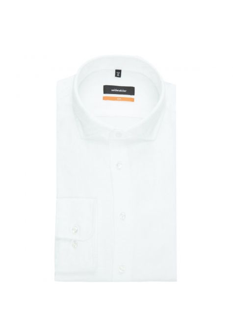 Chemise slim Printed blanche twill garment washed