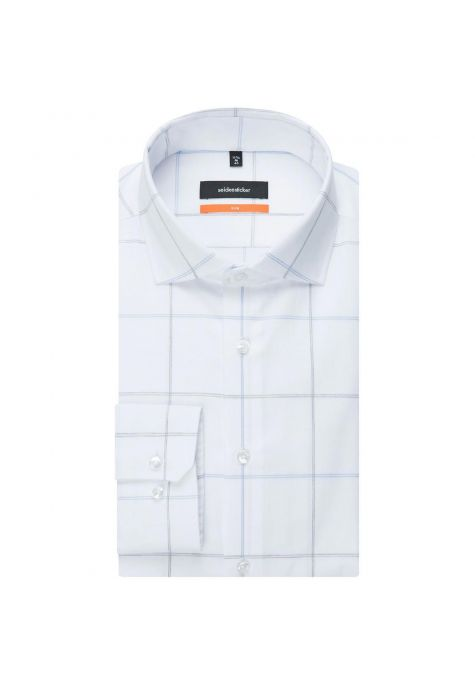 Chemise slim Printed blanche grand carreau