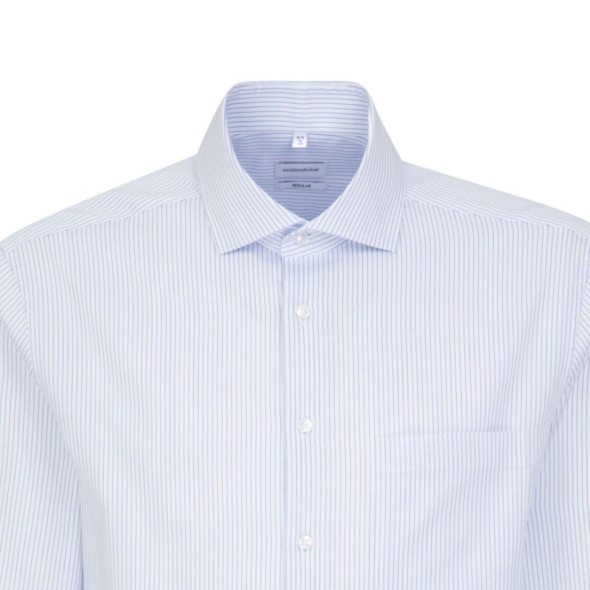 Chemise droite fines rayures bleues