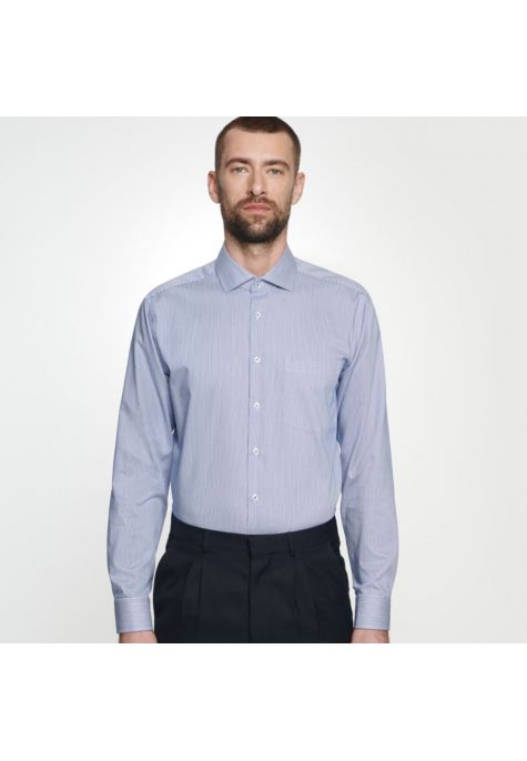 Chemise confort fines rayures bleues col semi-italien