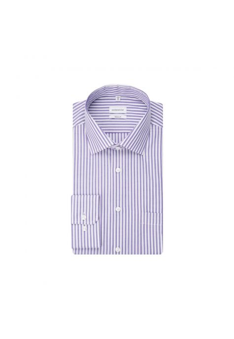Chemise droite rayures Bengale lilas