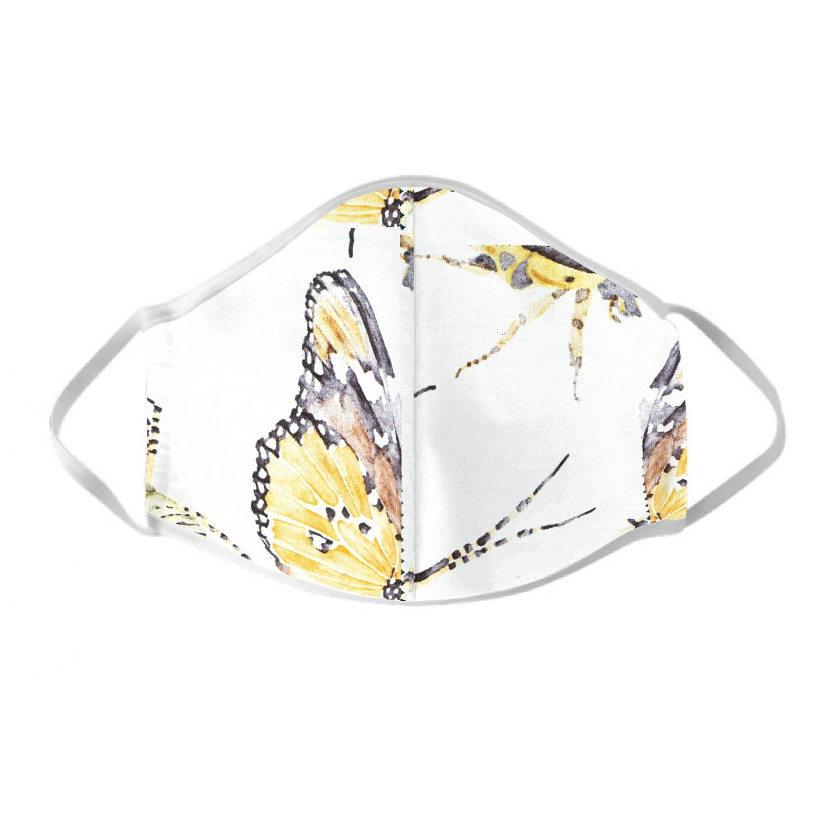 Masque de protection fantaisie blanc motif papillon jaune