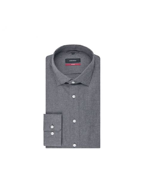 Chemise droite twill gris fines rayures