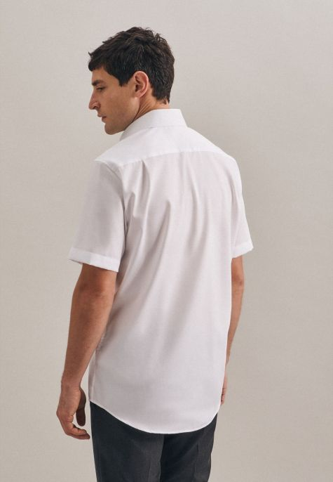 Chemise droite manches courtes blanche twill