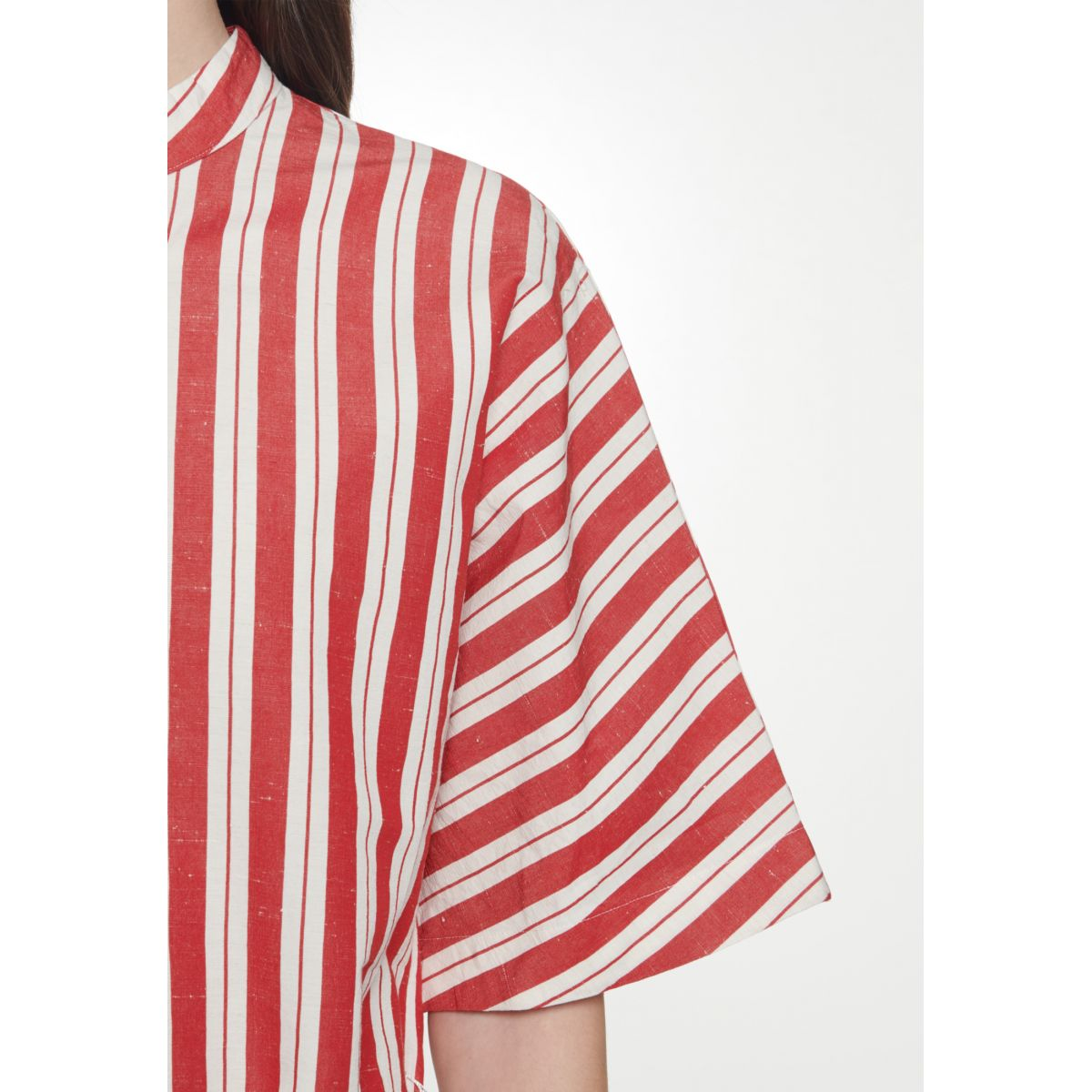 Robe-chemisier manches courtes coton-lin rayures rouges