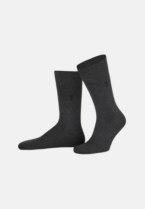 Chaussettes unies gris anthracite 2-pack