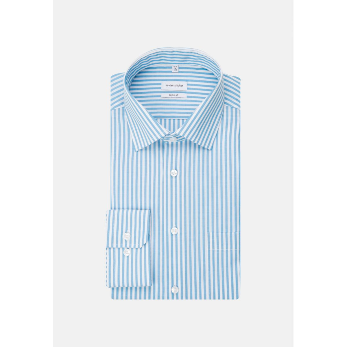 Chemise droite rayures Bengale bleu turquoise