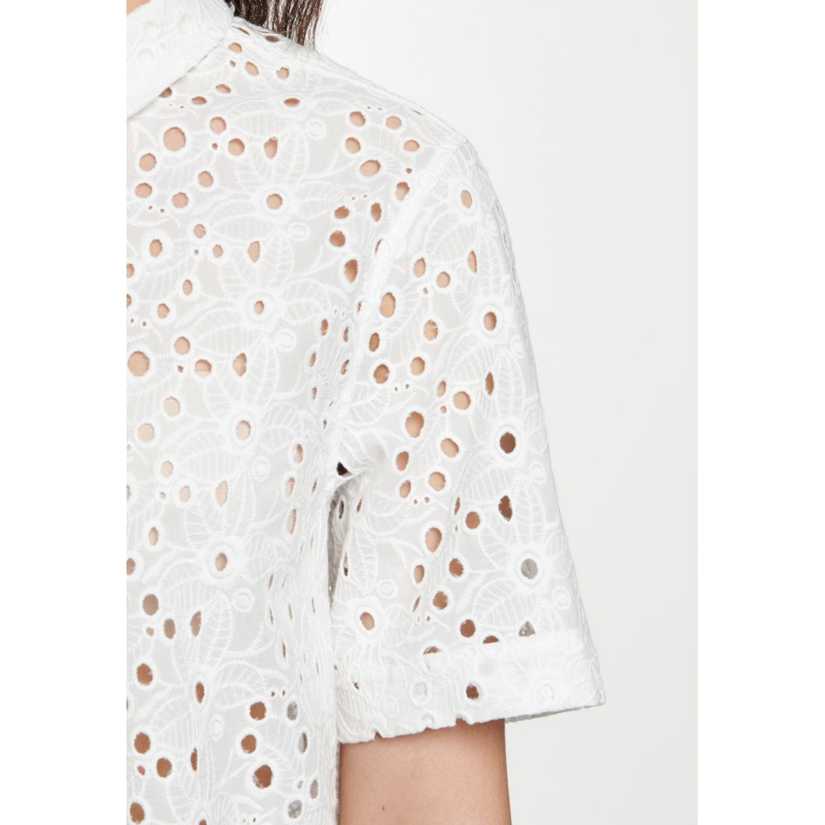 Chemisier blanc broderie anglaise manches courtes