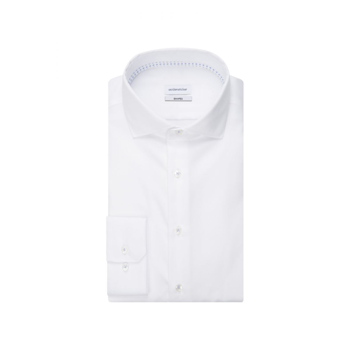 Chemise ajustée blanche manches extra-longues twill col semi-italien