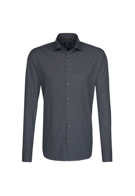 Chemise TAILORED Printed anthracite col semi-italien
