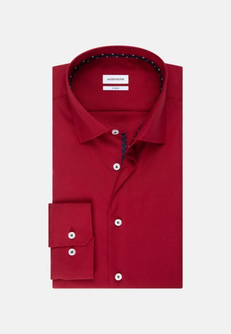 Chemise extra-slim rouge col ville