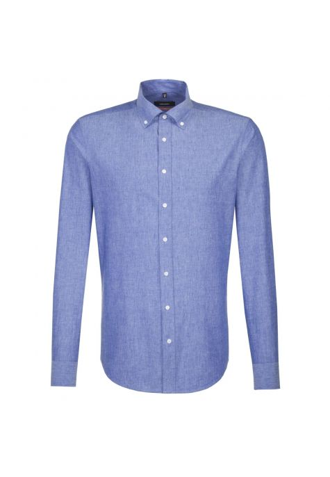 Chemise slim Printed bleue coton-lin