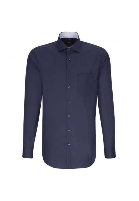 Chemise droite bleu marine manches extra-longues