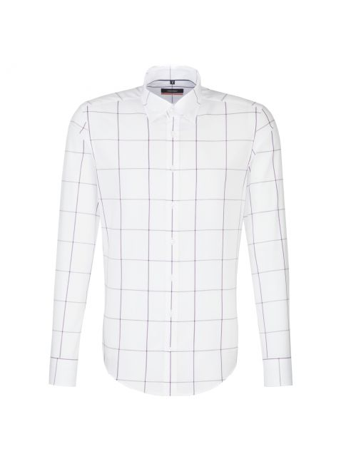 Chemise slim blanche grand carreau violet rosé